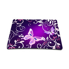 Soft Neoprene Notebook Laptop Optical Mouse Pad Purple Butterfly Floral MP-