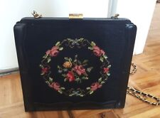 Vintage embroidered needlepoint tapestry carpet purse floral black medium size