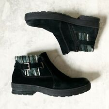 $109 Earth Origins Ankle Boot 12 Womens Tate Black Leather Suede Water Repellent