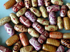 100 Holzperlen oval braun beige glänzend ethno 15 mm Mix 2036