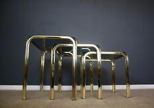Morex Hollywood Regency Italian Nest of Tables Mid Century Brass Retro 70s