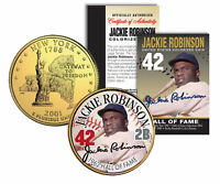 JACKIE ROBINSON * Hall of Fame * Legends Colorized NY Quarter Gold Plated Coin