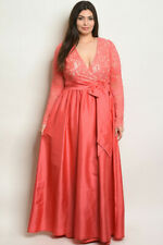 Womens Plus Size Coral Pink Lace Overlay Taffeta Evening Gown Maxi Dress 2XL