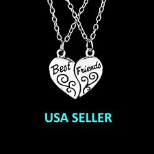"""Best Friends"" Pendant Necklaces 2 Parts Broken Heart"