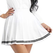 Women's Girls Slim School Uniforms High Waisted Pleated Tennis Skirts Mini Dress