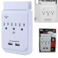 2 USB 3 Outlet Wall Tap Socket Electrical Fast Charger Surge Protector Adapter