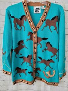 NWT STORYBOOK KNITS Equestrian Horse Cardigan Sweater Size M