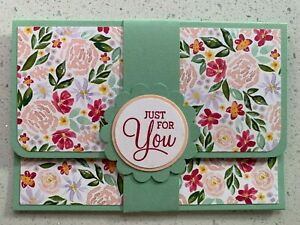Handmade gift card holder Mother's Day/For you/birthday options. Green floral