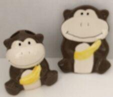 Monkey Bathroom Set Toothbrush Holder Soap Dish Ceramic Kid Yellow New