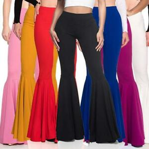 New Womens Flared Long Pants Fishtail Slim High Waist Casual Trousers