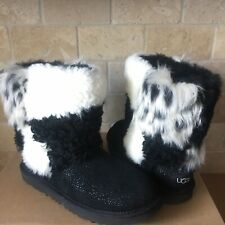 UGG Classic Short Patchwork Fluff Black Suede Boots Size Kids Youth 3 = Womens 5