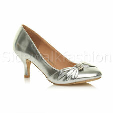 Womens ladies low mid heel diamante party smart evening court shoes size