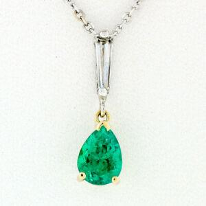 Petite 14K TT Gold .81ctw Pear Emerald Long Baguette Diamond Drop Dangle Pendant