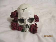 Dead Head American Beauty Skull with Roses Figurine Statue Skeleton Halloween