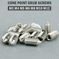 M3 M4 M5 M6 Stainless Cone Point Grub Screws Hex Socket Set Screw