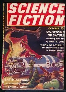 SCIENCE FICTION Vol. 1 No. 4 October 1939 Pulp Magazine Alien Attack Cover VG