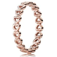 New PANDORA Rose Gold Linked Love Hearts Stackable Ring with BOX 180177
