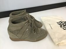 Isabel Marant Etoile Womens Bobby Shoes Taupe Wedges Boots Suede Size Uk 4 Eu 37