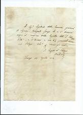 Lettera Autografo Sig. Badelli Presidente Accademia Crusca Governatore Siena
