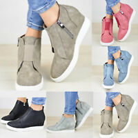 Women's Martin Boots PU Leather Ankle High Zip Up Breathable Retro Wedge Shoes