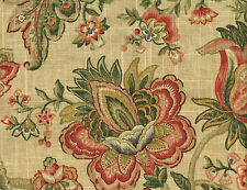 Mill Creek Fabric R Waites Beige Rose Green Gold Floral  Drapery Upholstery
