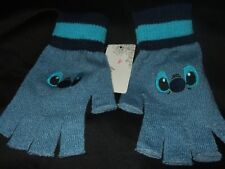 Cute New Blue Lilo And Stitch Face Space Alien Disney Movie Fingerless Gloves