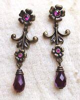 Vintage Avon Antiqued Floral Red AB Crystal Dangle Drop Pierced Earrings