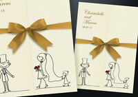 50 PERSONALISED GATEFOLD WEDDING INVITATIONS WITH ENVELOPES, RIBBON and Free P&P