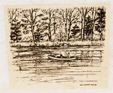 Northwoods Rubber Stamps Wood Mounted Man Dog Canoe Lake Father's Day