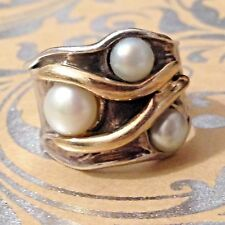 Designer Pearl Ring 14K Yellow Gold & 925 Sterling Silver Sz6 BOLD Statementx