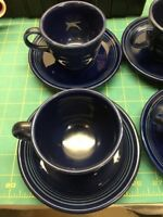 Homer Laughlin Fiesta Tea Cup and Saucer - Cobalt Blue Set Of 4 With Bonus Plate