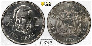 1973 Ecuador 2 Sucres PCGS MS64 Not Released For Circulation