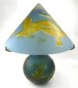 Vintage late 20th century reproduction Galle overlaid glass lamp eagle landscape