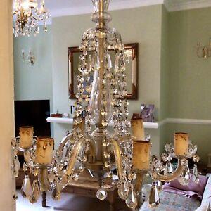 Antique Art Nouveau Crystal Chandelier, Facet Cut Drops, Glass Encased 6 Branch