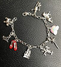 WIZARD OF OZ INSPIRED BRACELET. DOROTHY RED SHOES, TIN MAN SCARECROW CHARMS gift
