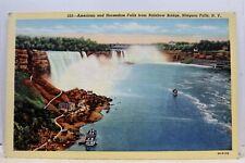 New York NY Niagara Falls American Horseshoe Rainbow Bridge Postcard Old Vintage