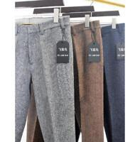 England Mens Manual Straight Herringbone Woolen Blend Trouser Loose Tweed Pants