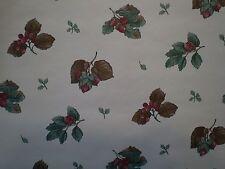 Red Berries & Green & Brown Leaves on Cream Wallpaper 709-5707