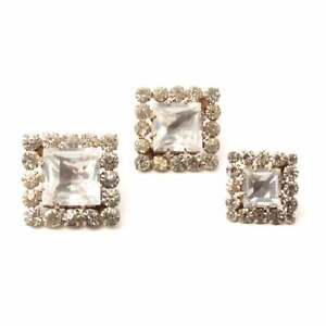 (3) Antique Victorian Czech crystal glass rhinestone square silver metal buttons