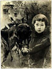 Eau Forte originale par ALBERT BESNARD : L'ANE ET L'ENFANT, 1888 - Etching