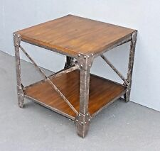 Modern Industrial Style Ashley End Table Side Table made of Wood & Metal