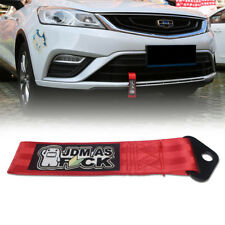 1x DOMO JDM AS Decal High Strength Red Tow Strap Car Front Rear Bumper Tow Hook
