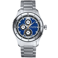 Nautica NCS 200 Men's Watch A18588G Blue Dial Day Date Dials Stainless Bracelet