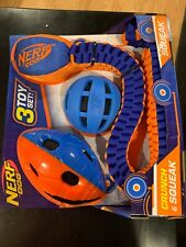 NEW IN PACK! NERF DOG 3 TOY SET! CRUNCH & SQUEAK FOOTBALL, BALL & TUFF TUG!