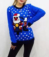 Women's Unisex Santa & Reindeer Pom Pom Christmas Sweater Xmas Pullover Jumper