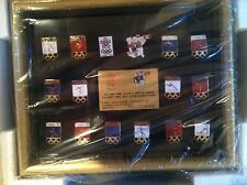 Framed Set of 16 New Vintage Olympic Pin Badge Calgary 1988 Winter Games NIB