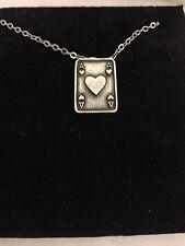 """Ace of hearts tarjeta R150 Estaño inglés en un collar chapado en plata platino 18"""""""