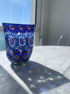 Blue Murano Millefiori Glass Vase - Stunning