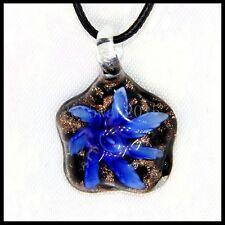 Fashion Women's Flowers lampwork Murano art glass beaded pendant necklace #M273