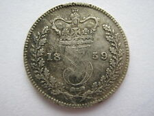 1859 Young Head silver Threepence, GF.